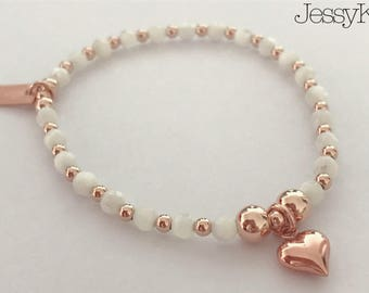 Sterling Silver/Rose Gold Heart Charm Bracelet with Mother of Pearl Gemstone Beads