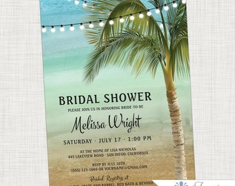 Beach Bridal Shower Invitation, Beach, Palm Tree, Tropical, Lights, Ocean, Wedding Shower