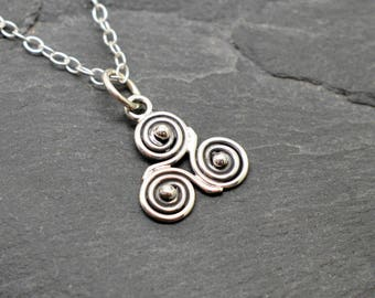 Small Triskele necklace in sterling silver celtic triple spiral