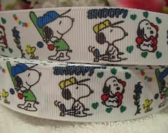 "3 Yards of  7/8"" Snoopy Baseball Grosgrain Printed Ribbon"
