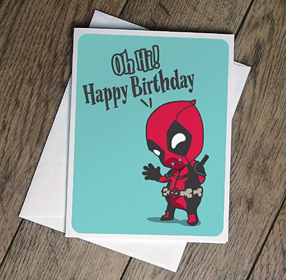 Deadpool Birthday Card Comic Illustration Printable Cute Funny