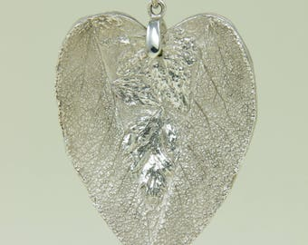 Fine Silver Handcrafted Sage Heart Pendant