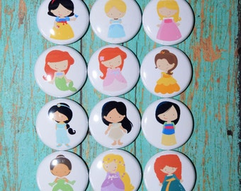 "1"" Button Flair Set of 12 Princesses, pinback, hollow back, metal back, plastic back, magnet"
