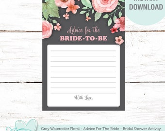 Advice For The Bride To Be, Bridal Shower Game, Grey Watercolor Floral, Instant Download, Printable, Flowers, Activity Card, Rustic, 006A