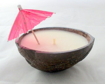 Coconut Candle, coconut bowl, hawaiian candle, coconut shell candle, tropical candle, unique candle, decorative candle, scented soy candle