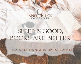 sleep is good, books are better - bookish candle