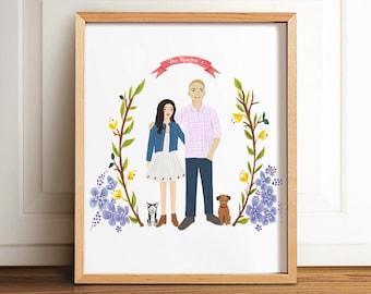 Custom portrait, Custom couple illustration, personalized portrait, family illustration pets, wedding gift, wedding portrait, Valentine's