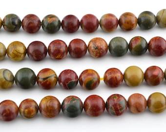 "16""   Red Creek Jasper , Picasso Jasper  Round Beads  ,Red Creek Jasper Beads , 6mm , 8mm , 10mm"
