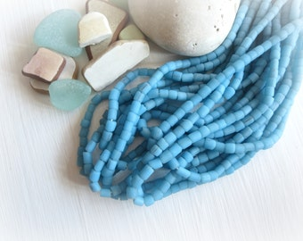 blue glass Beads, blue seed beads, small opaque matte organic ethnic tube barrel, New Indo-pacific  3 to 6 mm / 22 inches strand - 5A4-29