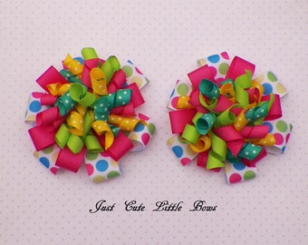 Stacked Loopy Korker Pigtail  Hair Bows with Dots