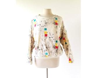 Vintage 80s Sweatshirt | Street Geometry | Puffy Top | One Size