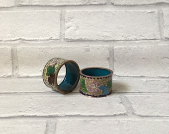 Set of Two Cloisonné Beautiful Napkin Ring Holders Gorgeous Blues