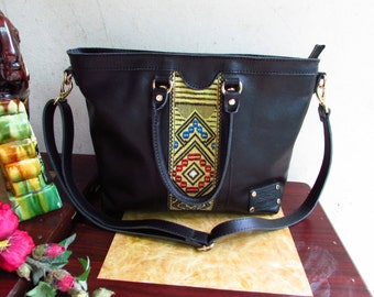 Black Leather purse, Women leather bag, leather handbag, Colorful handbag, women handbag, Casual handbag, leather casual bag