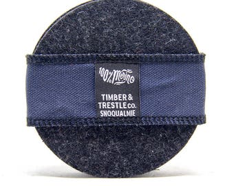Round Merino Wool Felt Coaster Set – Charcoal Gray – 5MM Thick