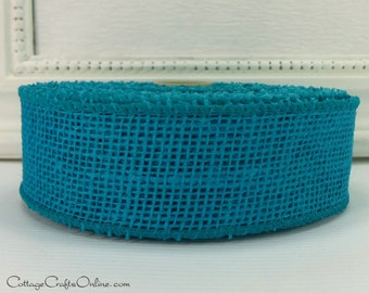 "Burlap Wired Ribbon, 1 1/2"" Wide, Turquoise Blue Natural Jute, TEN YARD Roll, Spring, Easter, Summer, Wire Edged Ribbon"