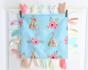Baby tag blanket, baby gift, baby blanket, baby security blanky, taggy toy, baby toy, baby shower gift, floral baby toy, teepee baby toy