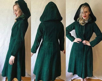 Emerald 1930s style 1970s hooded suede coat, gorgeous satin lined