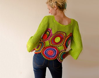Green Blouse, Top,  Long Sleeved, Multicolored - MADE TO ORDER