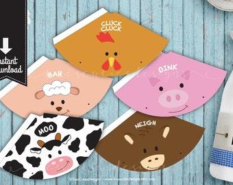 Printable Birthday Party Hat - Farm Animals - Barnyard - Instant Download