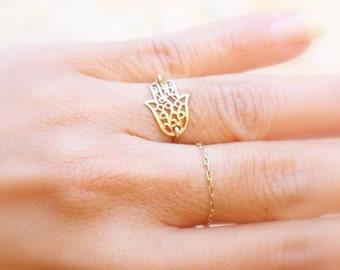 Hamsa ring / Gold Hamsa Ring /  Hamsa / Hand Ring