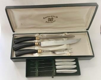 Vintage Carving Set in Stainless Steel with Quikut Steak Knives, Englishtown Cutlery Ltd Sheffield England, Wedding/ Housewarming Gift