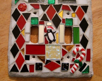 Handmade Penguin and Candy Cane Mosaic Winter Christmas Switchplate OOAK Original