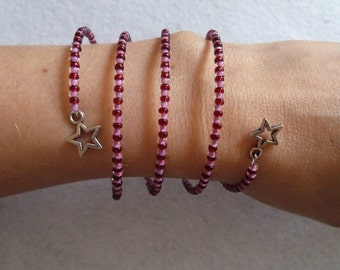 Spiral bracelet in Bordaux and pink