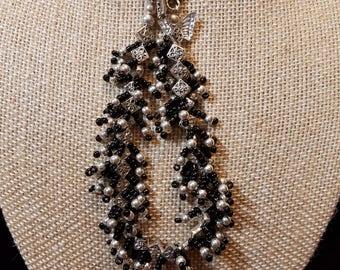 """CLEARANCE - 6"""" Black and Silver Fringe Bracelet"""