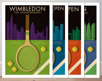 GRAND SLAM TENNIS collection *4* retro style sports posters