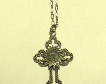 Cross necklace antique two sided brass