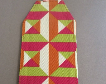 Geometric, orange, green, pink, luggage tag, backpack, travel