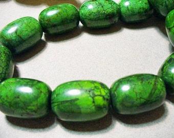 Magnesite Beads Gemtones Green Barrel 25MM