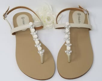 Ivory Wedding Sandals with Ivory Rose and Crystals Ivory Bridal Sandals Ivory Wedding Shoes Beach Wedding Sandals Vegan Sandals
