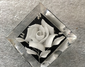Reverse Carved Lucite Brooch-White Rose Black Background