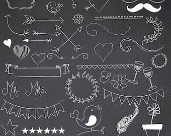 80% OFF SALE Chalkboard doodles clipart commercial use, vector graphics, digital clip art, digital images - CL684