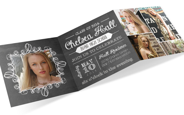 Graduation Invite Trifold Invitation Chalkboard Invite