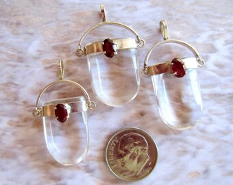 Three Pendants-Crystal Quartz-Garnet