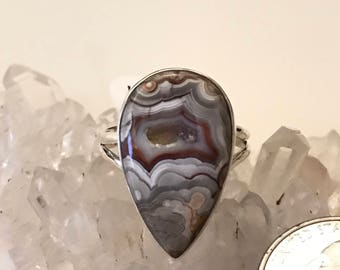 Crazy Lace Agate Ring Size 10