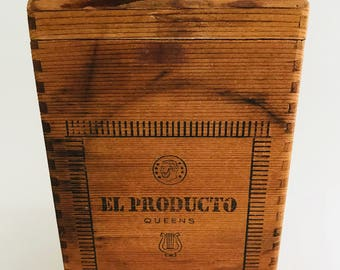 Wooden Cigar Box - El Producto - Collectors' Choice or Storage Box - Dove-tailed Construction Box from Queens, NY - Vintage Box
