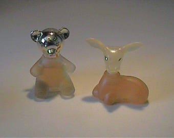 Two vintage 1970's Avon full deer and teddy bear bottles - Sweet Honesty Cologne