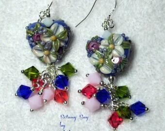 Blue Floral Earrings - BOTANY BAY - Flower Heart Earrings,Lampwork Earrings,Colorful Earrings,Bead Earrings,Garden Jewelry