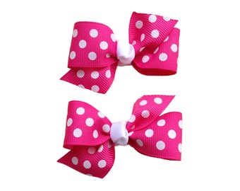 You pick color pigtail bows- polka dot pigtail bows, polka dot bows, toddler hair bows, pigtail bows, baby bows, girls hair bows, hairbows