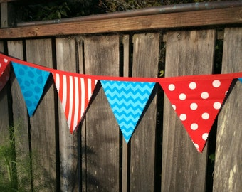 Dr. Seuss Bunting Red and Turquoise Fabric Large size for Birthday Party, Nursery, Photo Prop