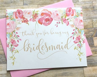Vintage Thank You For Being My Bridesmaid Card - Antique Wedding Thank You Card for bridesmaid - Bridal Wedding Card - Bridesmaid - HEIRLOOM