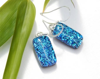 Sparkly Turquoise Dichroic Glass Drop Earrings on 925 Sterling Silver Earwires - Fused Glass Jewelry - Art Glass Dangle Earrings