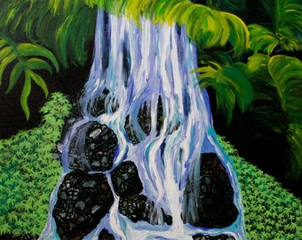 """Likeke Waterfall 24"""" x 36"""" original acrylic painting on stretched canvas. Ready to hang."""
