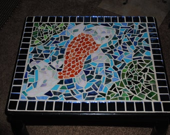 Koi In Pond Mosaic End Table
