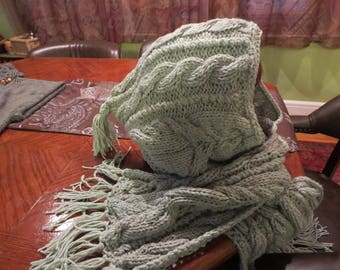 Knit Hooded Scarf, Winter Hooded Scarf, Winter Accessories, Winter Scarf