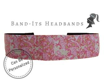 Paisley Headband - Wide Headband - Floral Headband - Running Headband - No Slip Headband - Yoga Headband - Running Headband - Pink and Green