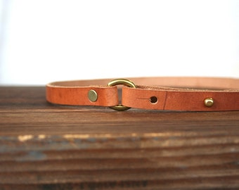 Skinny Leather Belt with brass stud and buckle